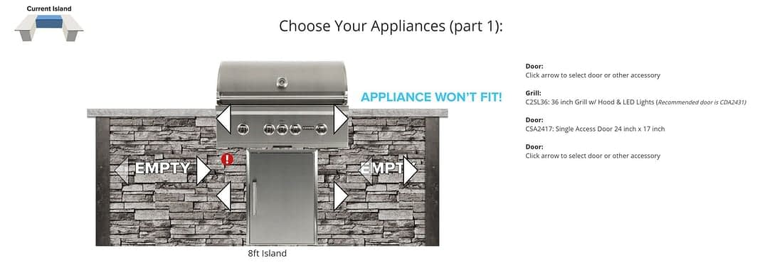 appliance options for patio kitchen designs