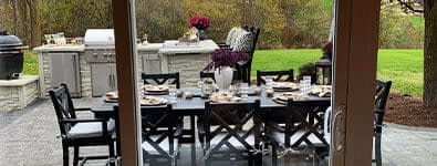 Farahas L shape outdoor kitchen kit from the dining room