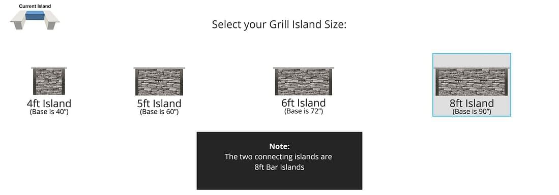 island size selection for outdoor kitchen design