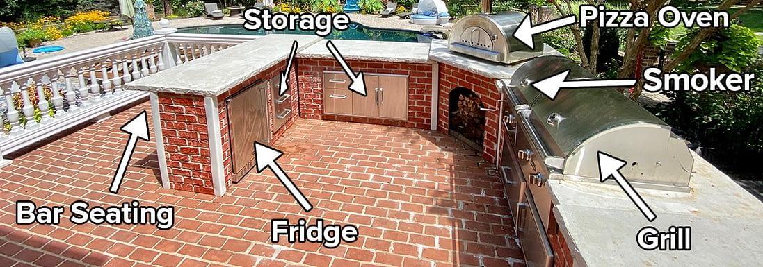 appliances in u shaped outdoor kitchen