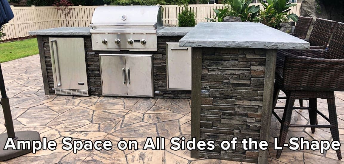 Ample Space on All Sides of Your L Shape Outdoor Kitchen