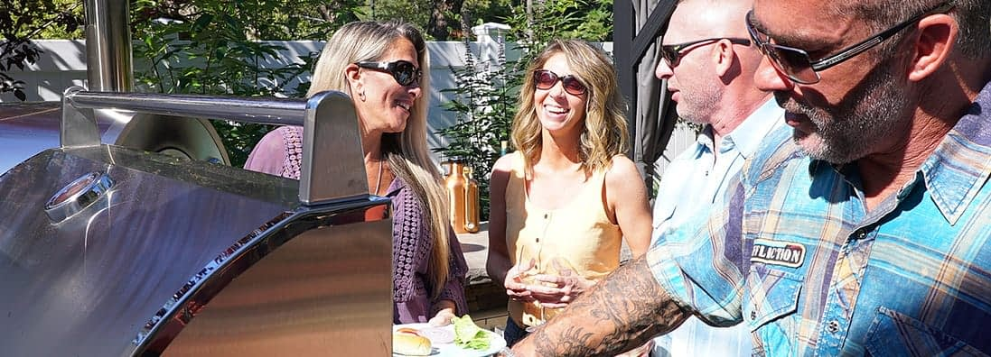 enjoying friends at u shaped outdoor bar