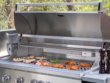large 42 inch grill in outdoor kitchen