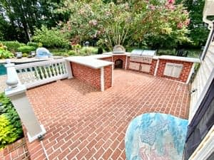 u shaped outdoor kitchen from a distance