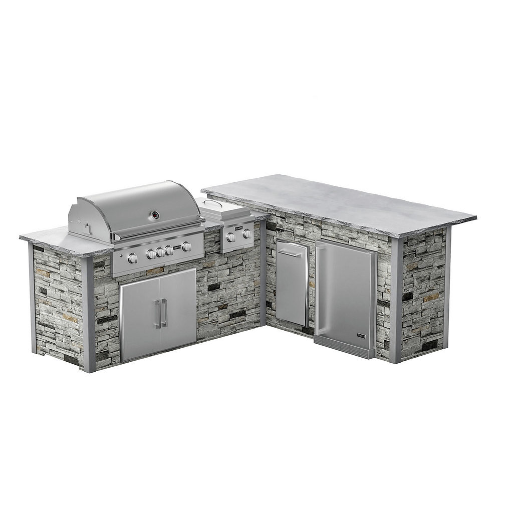 l-shape custom outdoor kitchen kit with appliances