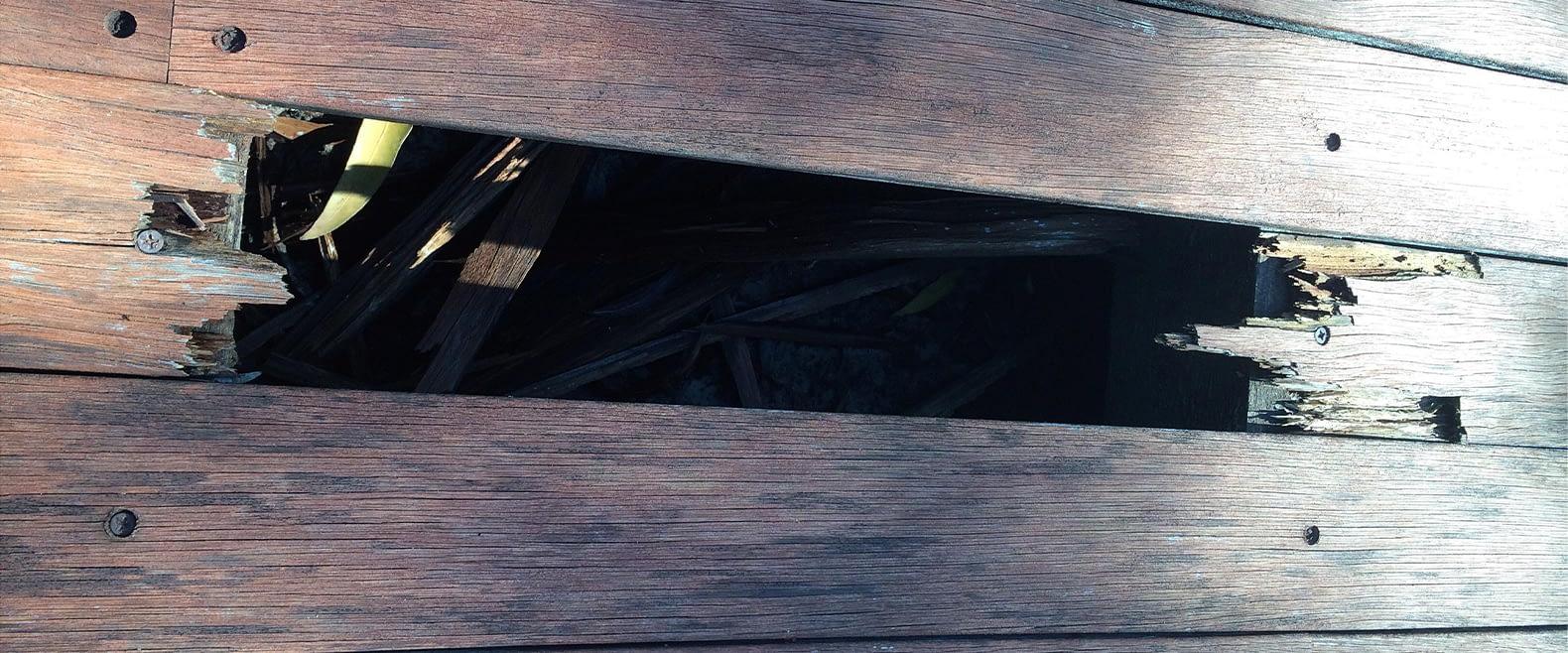 broken wooden deck board