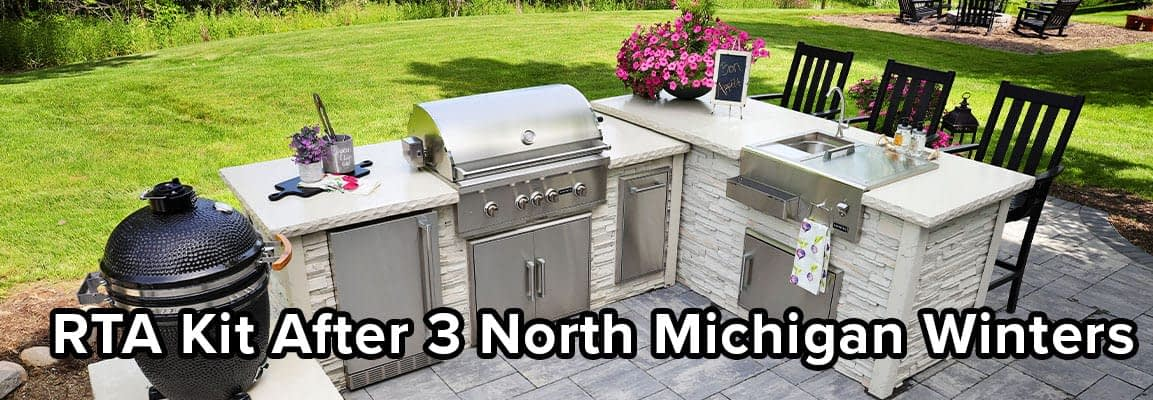 Farahs L Shaped Outdoor Kitchen After 3 Michigan Winters