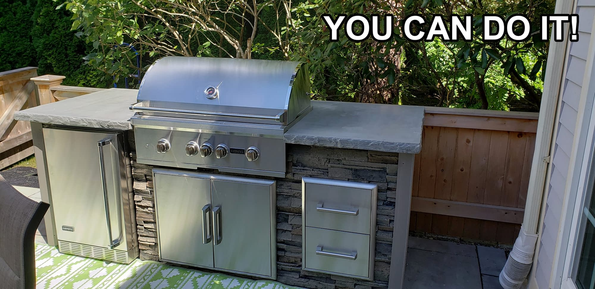 Outdoor kitchen on deck ready to use