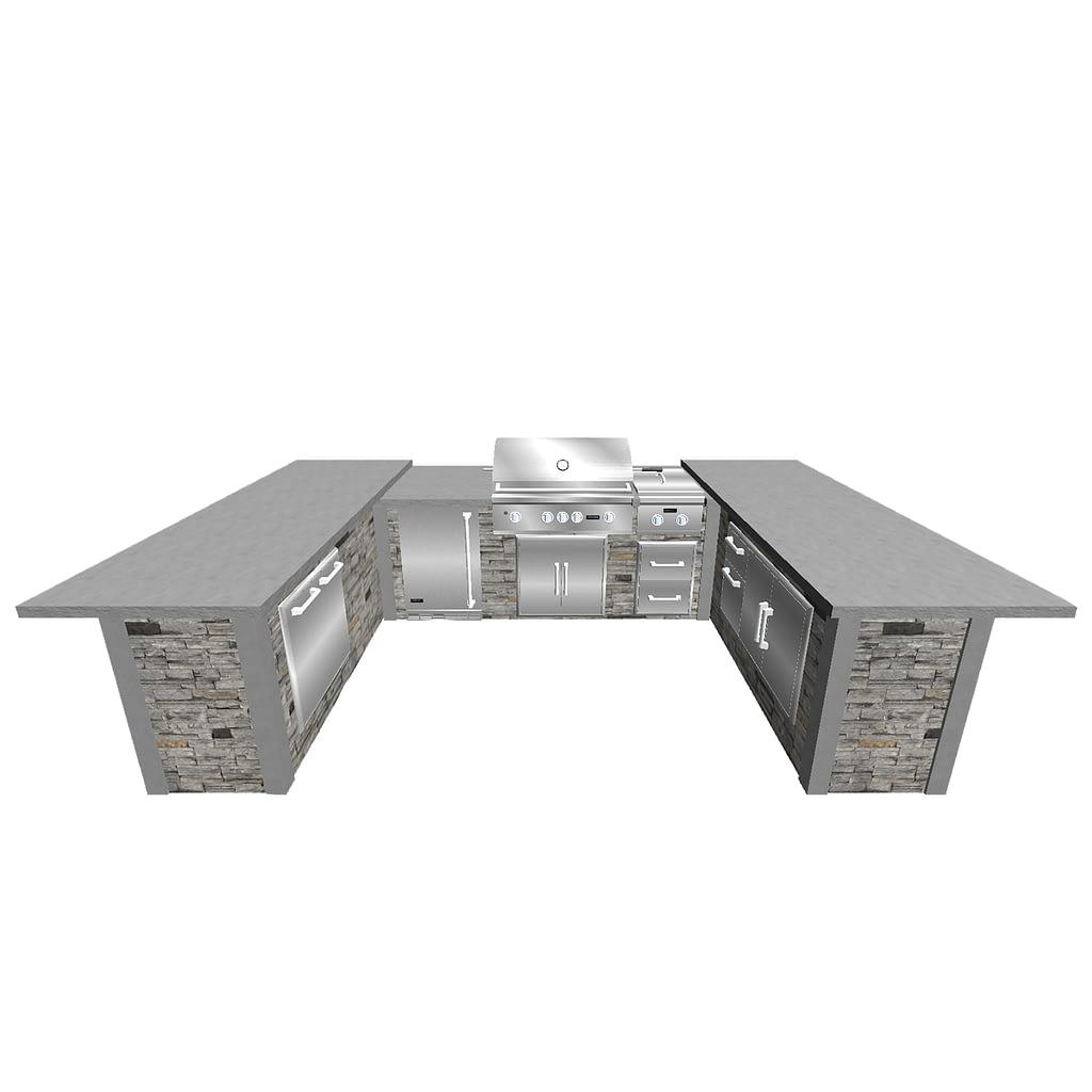 custom u-shape outdoor kitchen design