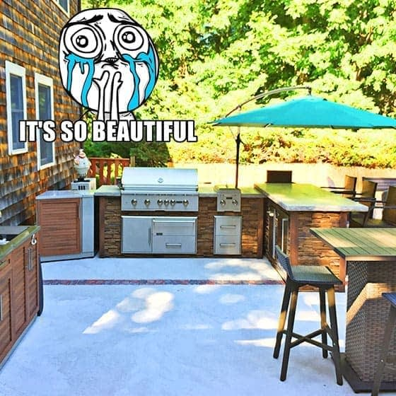 Beautiful L Shaped Outdoor Kitchen Fitting Into Its Outdoor Space