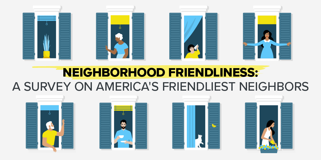"""Image showing people looking out windows with text reading """"Neighborhood Friendliness: A Survey on America's Friendliest Neighbors"""""""