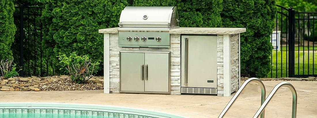 rta outdoor kitchen by pool