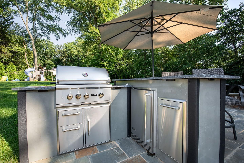 RTA l shape modern concrete outdoor kitchen with bar island (11)