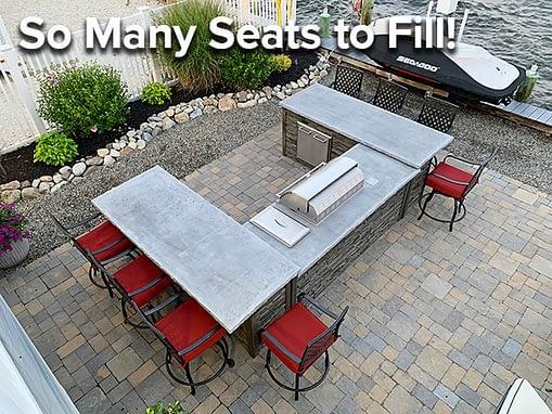 u shaped outdoor bar seating