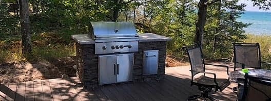 summer kitchen by a lake
