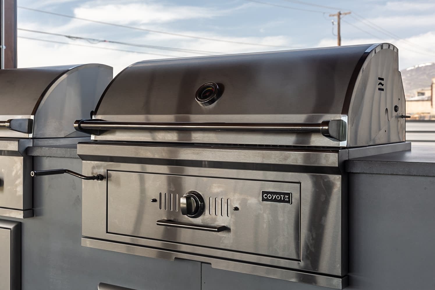 built in charcoal grill