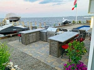 u shaped outdoor kitchen designs by water