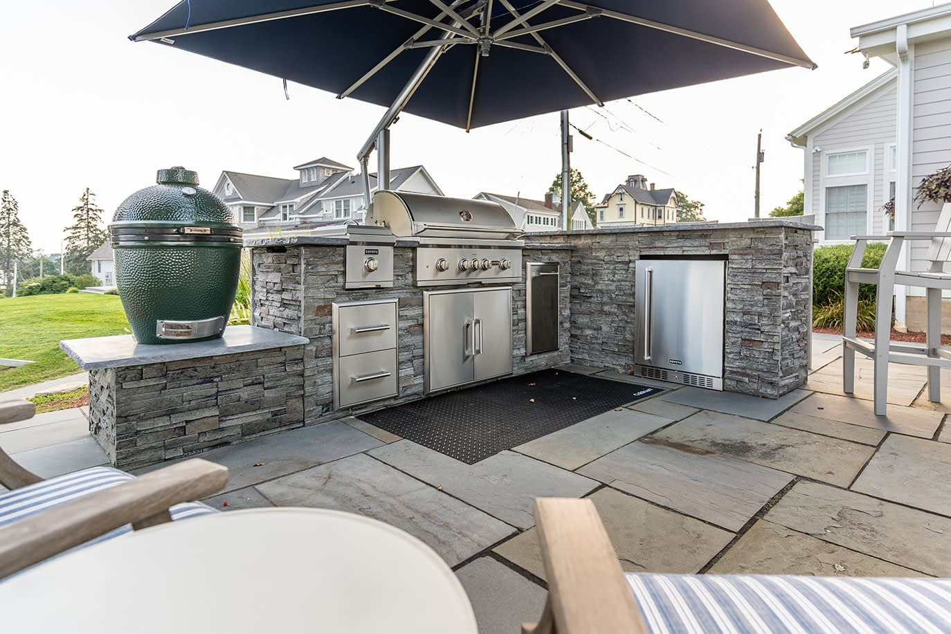 Stacked Stone Outdoor Kitchen on Patio Near Lake with Smoker (1)