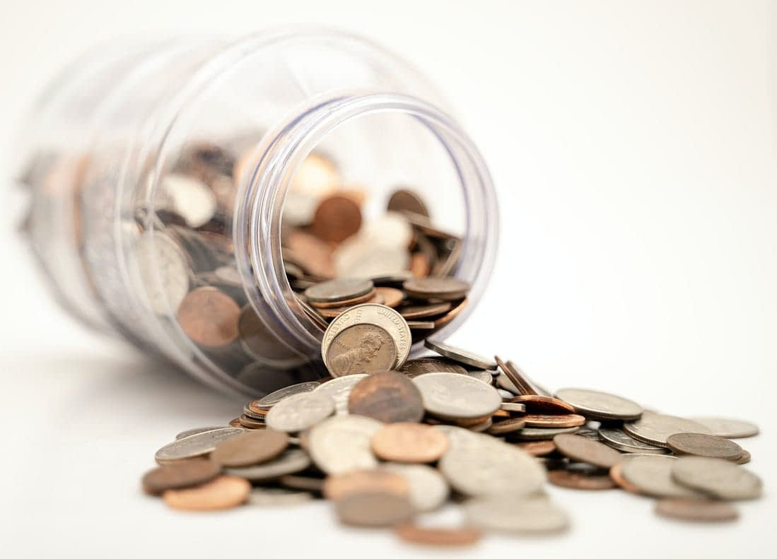 jar of coin savings for outdoor kitchen