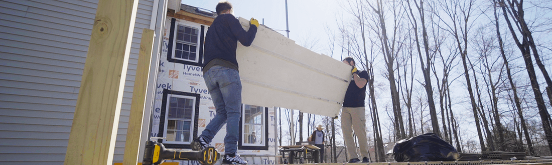 outdoor kitchen cabinet being moved