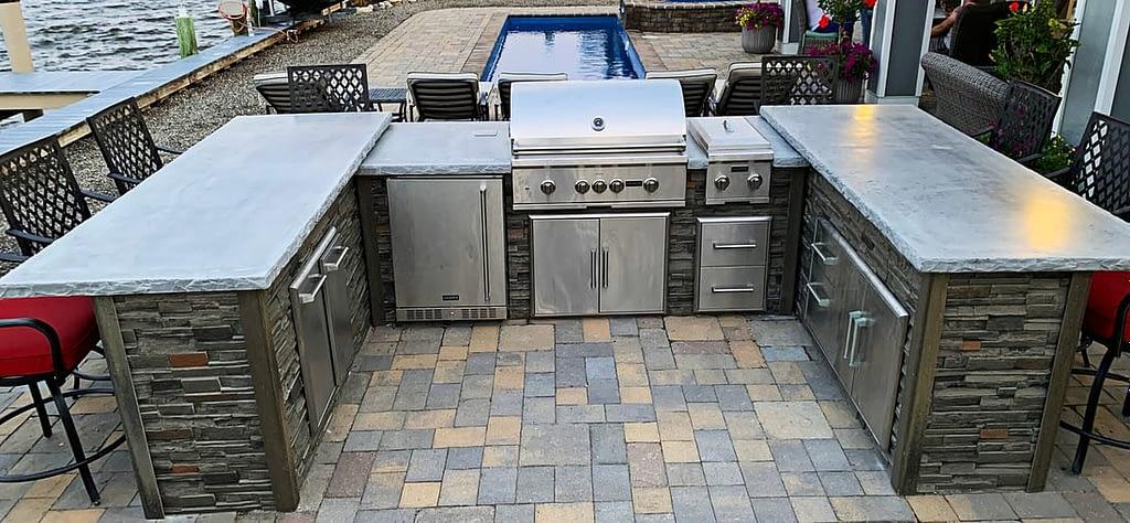 u shape outdoor kitchen layout