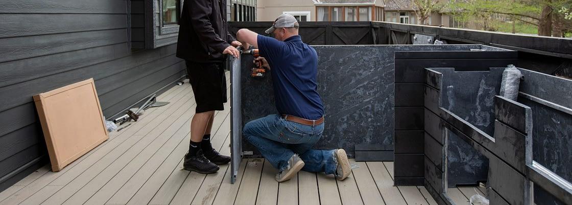 outdoor kitchen frames kit being installedoutdoor kitchen frames kit being installed