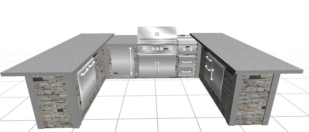 u shape outdoor kitchen designs