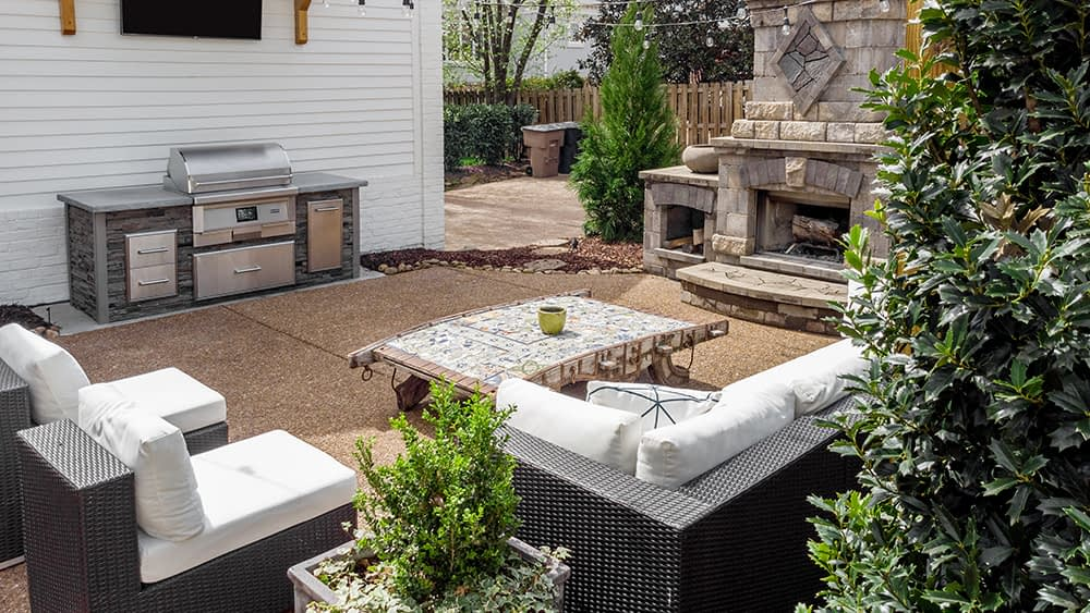 Pellet grill outdoor kitchen on patio with lighting (1)